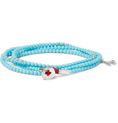 Isaia - Saracino Turquoise and Silver Bead Wrap Bracelet