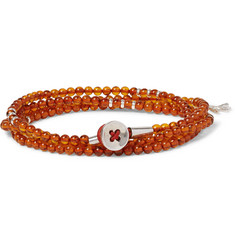 Isaia - Saracino Amber and Silver Bead Wrap Bracelet