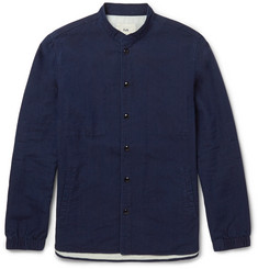 Folk Grandad-Collar Cotton-Chambray Overshirt