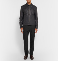 Brioni Slim-Fit Leather-Trimmed Cotton and Silk-Blend Twill Trousers