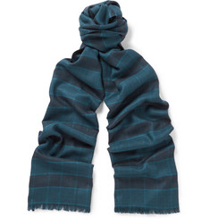 Brioni Plaid Cashmere and Silk-Blend Scarf