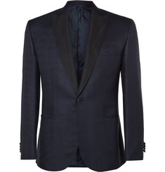 Brioni Navy Slim-Fit Checked Silk and Wool-Blend Tuxedo Jacket
