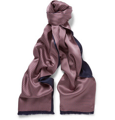 Brioni Patterned Silk-Satin Evening Scarf