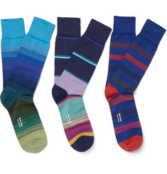 Paul Smith Shoes & Accessories - Three-Pack Striped Cotton-Blend Socks