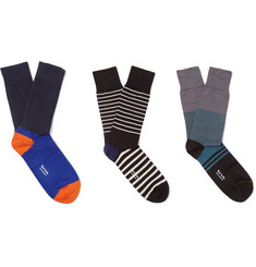 Paul Smith Shoes & Accessories Three-Pack Stretch Cotton-Blend Socks