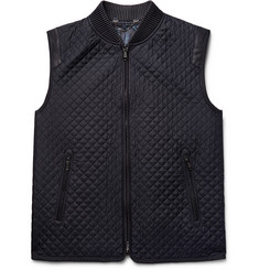 Brioni Leather-Trimmed Quilted Silk Gilet