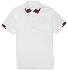 Brioni Slim-Fit Silk-Trimmed Cotton-Piqué Polo Shirt