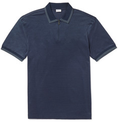 Brioni Slim-Fit Cotton and Silk-Blend Piqué Polo Shirt