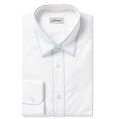 Brioni White Piped Cotton Shirt