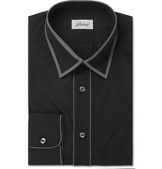 Brioni - Piped Black Cotton Shirt
