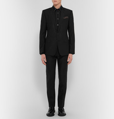 Brioni Piped Black Cotton Shirt
