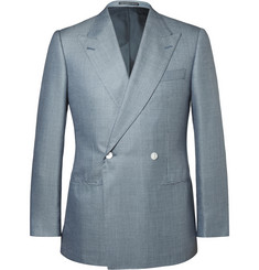 Lutwyche Blue Puppytooth Wool and Silk-Blend Blazer