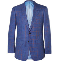 Lutwyche Navy Windowpane-Check Wool, Silk and Linen-Blend Blazer