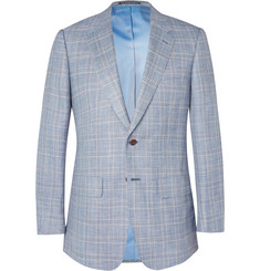 Lutwyche Blue Glen-Check Wool, Silk and Linen-Blend Blazer