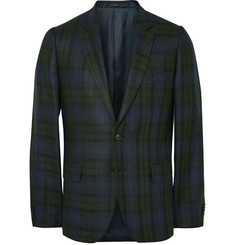 Paul Smith London - Soho Slim-Fit Checked Silk, Linen and Wool-Blend Blazer