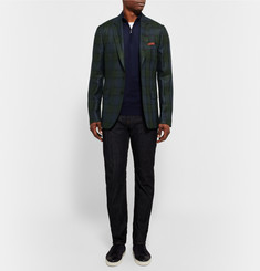 Paul Smith London Soho Slim-Fit Checked Silk, Linen and Wool-Blend Blazer