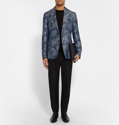 Etro Slim-Fit Toucan-Jacquard Linen and Cotton-Blend Blazer