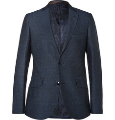Etro - Navy Slim-Fit Herringbone Cotton, Linen and Wool-Blend Blazer