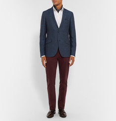 Etro Navy Slim-Fit Herringbone Cotton, Linen and Wool-Blend Blazer
