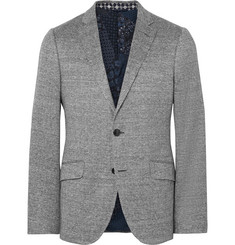 Etro Blue Slim-Fit Herringbone Woven Blazer