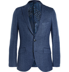 Etro - Blue Minerva Slim-Fit Linen and Cotton-Blend Hopsack Blazer