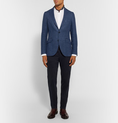 Etro Blue Minerva Slim-Fit Linen and Cotton-Blend Hopsack Blazer