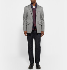 Etro Grey Slim-Fit Prince of Wales Checked Stretch-Cotton Blazer
