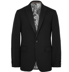 Etro - Black Slim-Fit Striped Silk Tuxedo Jacket