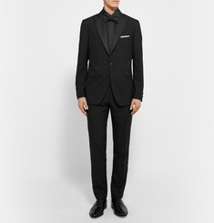 Etro Black Slim-Fit Striped Silk Tuxedo Jacket