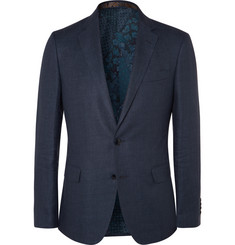 Etro Navy Hemp and Cotton-Blend Suit Jacket