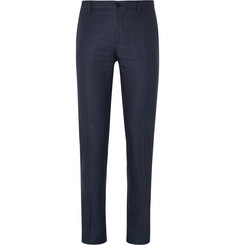 Etro Navy Slim-Fit Hemp and Cotton-Blend Trousers