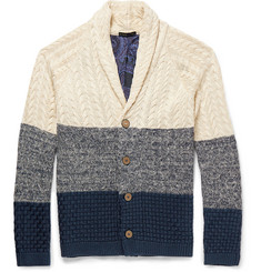 Etro Slim-Fit Contrast-Knit Cotton Cardigan