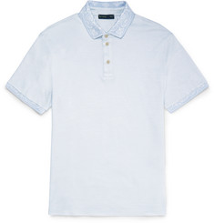 Etro Slim-Fit Paisley-Trimmed Silk and Cotton-Blend Piqué Polo Shirt