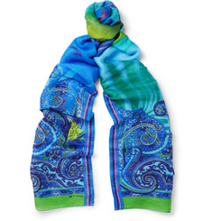 Etro Printed Linen and Silk-Blend Scarf