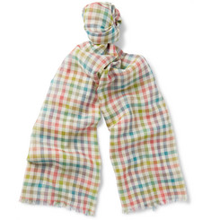 Etro - Gingham Wool and Silk-Blend Scarf
