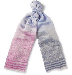 Etro Dégradé Linen, Wool and Silk-Blend Jacquard Scarf
