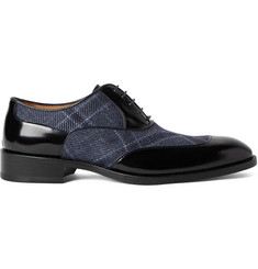 Etro Panelled Polished-Leather and Canvas Oxford Shoes