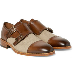 Etro Two-Tone Burnished-Leather and Canvas Monk-Strap Shoes