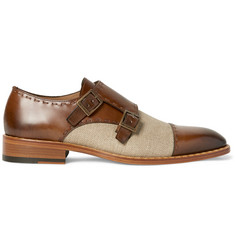 Etro - Two-Tone Burnished-Leather and Canvas Monk-Strap Shoes