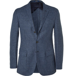 Polo Ralph Lauren Blue Puppytooth Linen and Wool-Blend Blazer