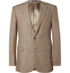 Polo Ralph Lauren Brown Slim-Fit Linen Blazer