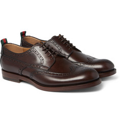 Gucci - Stripe-Trimmed Leather Brogues
