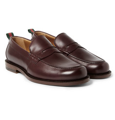Gucci - Stripe-Trimmed Leather Penny Loafers