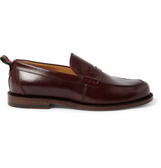 Gucci Stripe-Trimmed Leather Penny Loafers