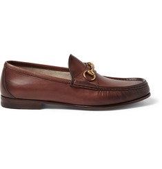 Gucci Horsebit Burnished-Leather Loafers