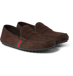 Gucci - Stripe-Trimmed Suede Driving Shoes