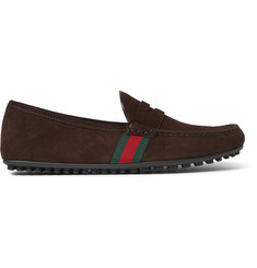 Gucci Stripe-Trimmed Suede Driving Shoes