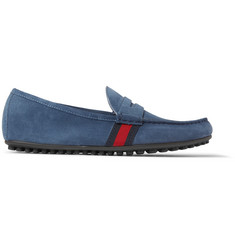 Gucci Webbing-Trimmed Suede Driving Shoes
