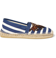 Gucci Embroidered Striped Canvas Espadrilles