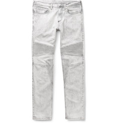 Neil Barrett - Slim-Fit Bleached Stretch-Denim Biker Jeans